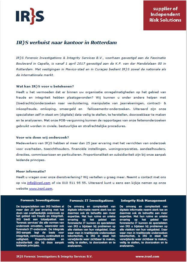 IRS verhuist naar nieuw kantoor in Rotterdam